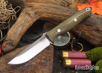Bark River Knives: Gunny - Green Linen Micarta