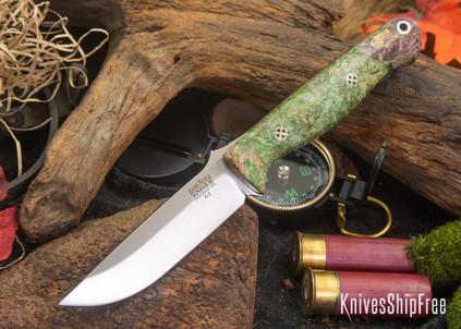 Bark River Knives: Gunny - Mossy Green Maple Burl- Mosaic Pins