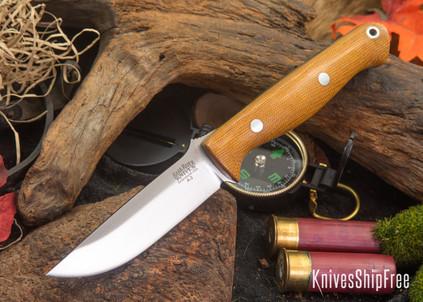 Bark River Knives: Gunny - Natural Canvas Micarta - Green Liners