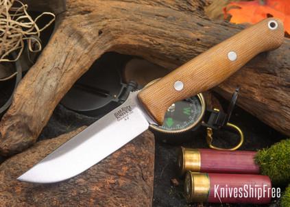 Bark River Knives: Gunny - Natural Canvas Micarta - Matte