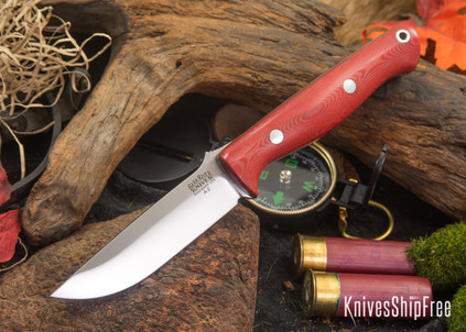 Bark River Knives: Gunny - Red Linen Micarta - White Liners