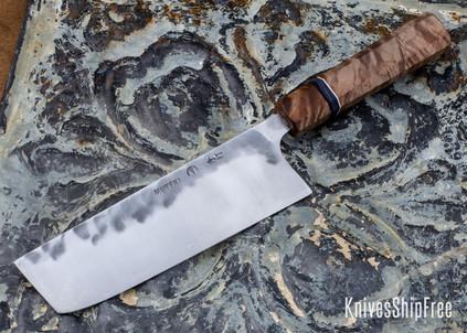 Carter Cutlery: Muteki - Nakiri - Maple - White and Marbled G10 & Black Linen Micarta Spacers - CC01JG030