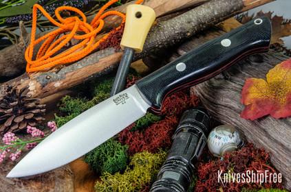 Bark River Knives: UP Bravo - Black Canvas Micarta - Red Liners