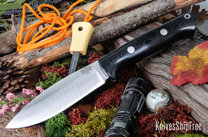 Bark River Knives: UP Bravo - Black Linen Micarta
