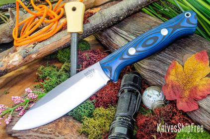 Bark River Knives: UP Bravo - Blue & Black Suretouch - Matte