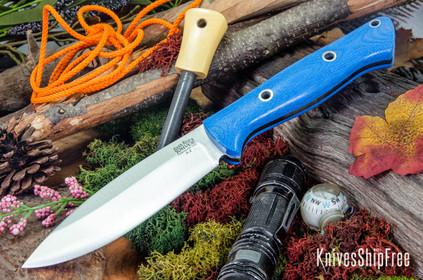 Bark River Knives: UP Bravo - Blue Denim Micarta - Hollow Pins