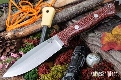 Bark River Knives: UP Bravo - Burgundy Burlap Micarta - White Liners