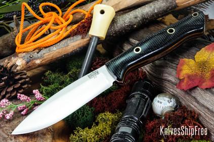 Bark River Knives: UP Bravo - Duskdog Canvas Micarta - Thick Natural Liners - Hollow Pins