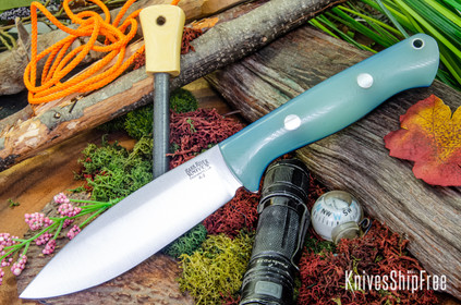 Bark River Knives: UP Bravo - Ghost Green Jade G-10 - Blue Liners