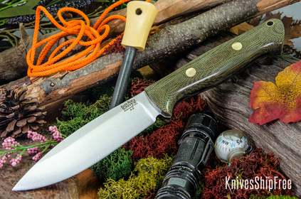 Bark River Knives: UP Bravo - Green Canvas Micarta - Brass Pins