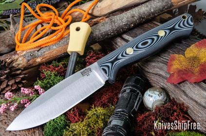 Bark River Knives: UP Bravo - Black & Gray G-10 - Brass Pins