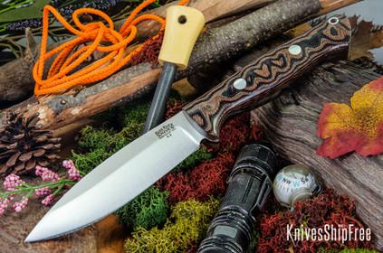 Bark River Knives: UP Bravo - Snakeskin Burgundy Canvas Micarta