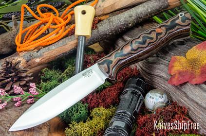 Bark River Knives: UP Bravo - Snakeskin Burgundy Canvas Micarta - Natural Liners & Pins