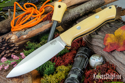 Bark River Knives: UP Bravo - Antique Ivory Micarta - Black Liners