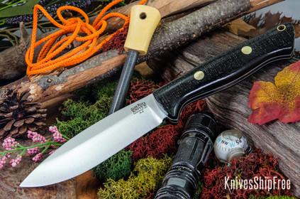Bark River Knives: UP Bravo - Black Burlap Micarta - White Liners - Brass Pins