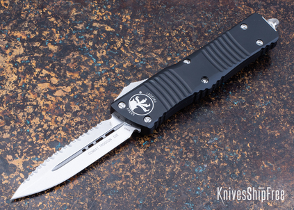 Microtech: Combat Troodon - Auto OTF - Double Edge - Stonewashed Full Serrated Blade - 142-12
