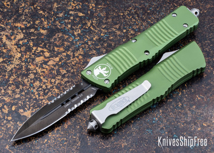 Microtech: Combat Troodon - Auto OTF - Double Edge - Black Partial Serrated Blade - OD Green Handle - 142-2 OD
