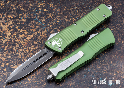 Microtech: Combat Troodon - Auto OTF - Double Edge - Black Full Serrated Blade - OD Green Handle - 142-3 OD