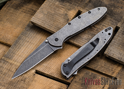 Kershaw Knives: Leek - Blackwash Finish - Assisted Opening - 1660BLKW