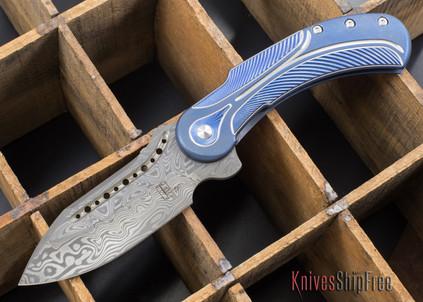 Todd Begg Knives: Steelcraft Series - Field Marshall - Blue & Silver Titanium - Grosserosen Damasteel - B