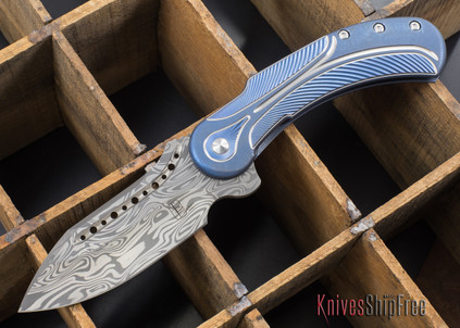 Todd Begg Knives: Steelcraft Series - Field Marshall - Blue & Silver Titanium - Draupner Damasteel - B