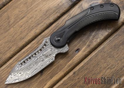 Todd Begg Knives: Steelcraft Series - Field Marshall - Black & Silver Titanium - Grosserosen Damasteel - JJ