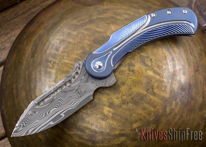 Todd Begg Knives: Steelcraft Series - Field Marshall - Blue & Silver Titanium - Draupner Damasteel - H