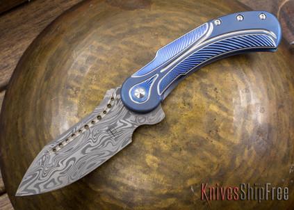 Todd Begg Knives: Steelcraft Series - Field Marshall - Blue & Silver Titanium - Draupner Damasteel - I