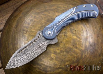 Todd Begg Knives: Steelcraft Series - Field Marshall - Blue & Silver Titanium - Draupner Damasteel - J
