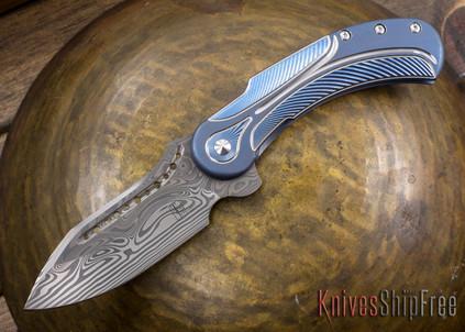 Todd Begg Knives: Steelcraft Series - Field Marshall - Blue & Silver Titanium - Draupner Damasteel - Q