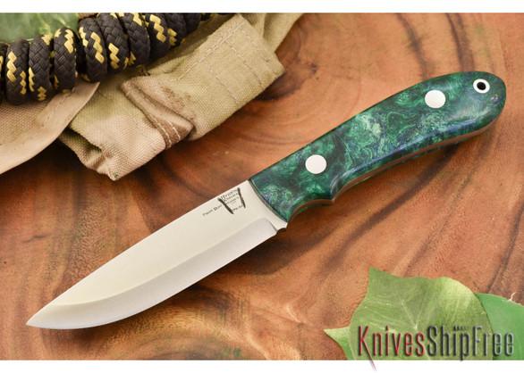 Hyken Knives: Bushcrafter CPM-154 - Green & Gold Maple Burl #2