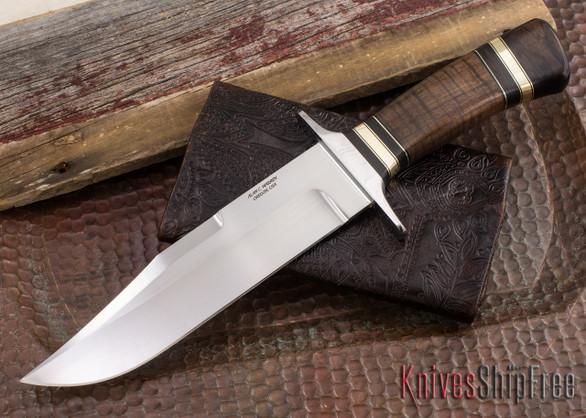 Alan Warren Knives: #2184 Bowie - 416 Guard - Stabilized Koa - Blackwood - Aluminum Bronze Accents