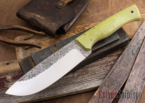 Fiddleback Forge: Camp Knife - Emerald Burlap - Natural / Yellow Liners - 031401