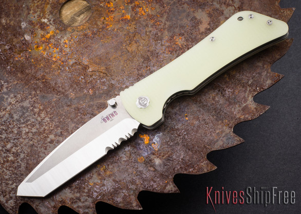 Southern Grind: Bad Monkey - Tanto Satin Serrated Blade - Jade Ghost Green G-10