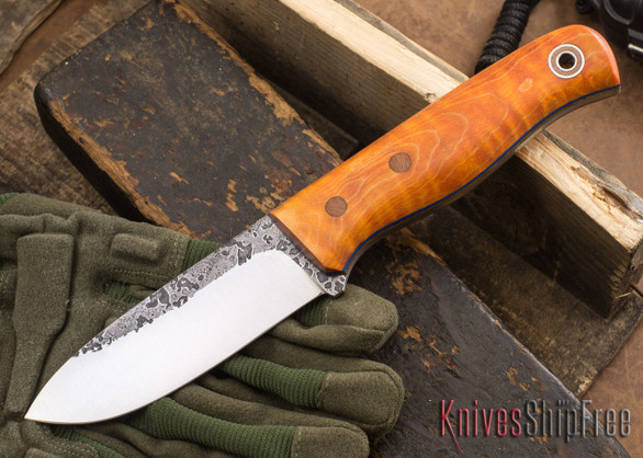 Fiddleback Forge: Bushcrafter - Dyed Curly Maple - Natural & Blue Liners - A2 Tool Steel - FF10ED010