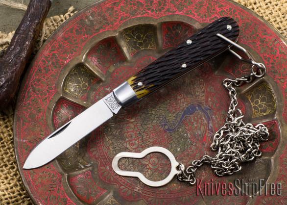Great Eastern Cutlery: #15 Tidioute - Huckleberry Boy's Knife - Antique Yellow Jigged Bone - Bail & Chain