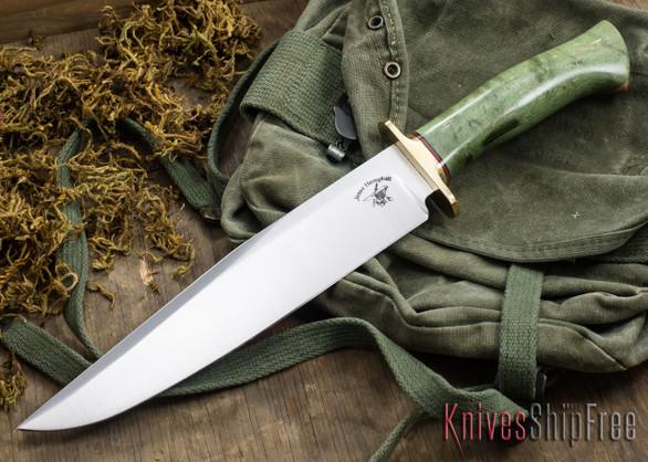 Jesse Hemphill Knives: Bowie - Green Birdseye Maple