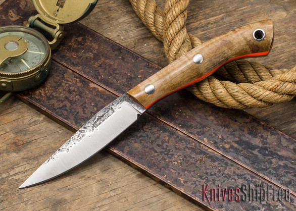 Lon Humphrey Knives: Bird & Trout - Forged 440C - Dark Curly Maple - Orange Liners
