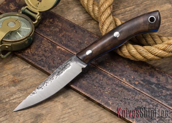 Lon Humphrey Knives: Bird & Trout - Forged 440C - Claro Walnut Burl - Blue Liners #1