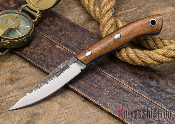 Lon Humphrey Knives: Bird & Trout - Forged 440C - Curly Koa - Blue Liners #5