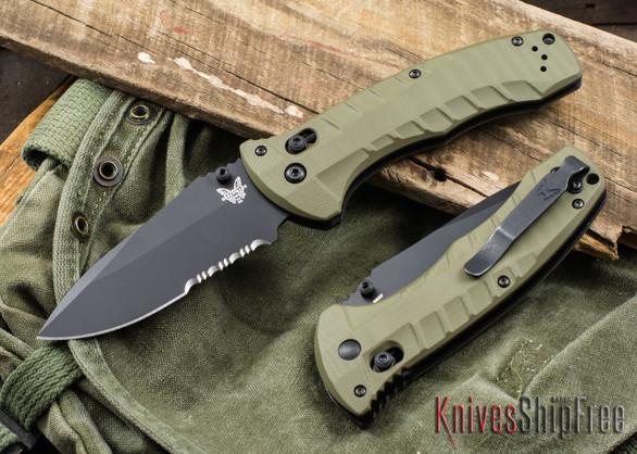 Benchmade Knives: 980SBK Turret - OD Green G-10 - CPM-S30V - Black Serrated Blade