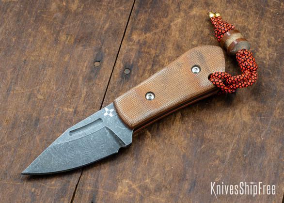 Joe Loui Knives: Chico #008 - Natural Micarta - Orange Liners