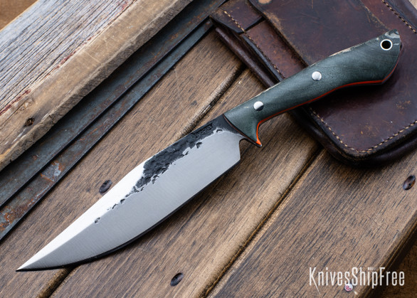 Lon Humphrey Knives: Hickok - Forged 52100 - Black Storm Maple - Orange Liners - 120341