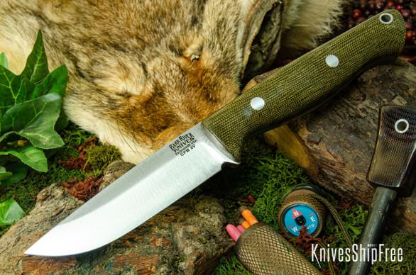 Bark River Knives: Gunny Hunter LT - CPM 3V - Green Canvas Micarta