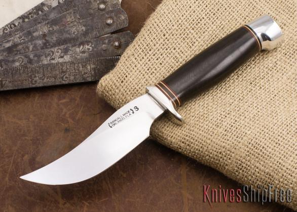 Randall Made Knives: Model 22 Outdoorsman - Black Micarta - Nickel Silver Hilt - Crow's Beak Pommel - Stainless Steel