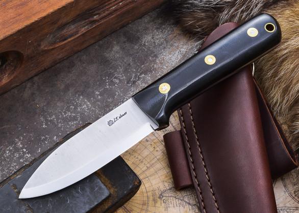 L.T. Wright Knives: Genesis - Black Micarta - Scandi Grind - A2 Steel