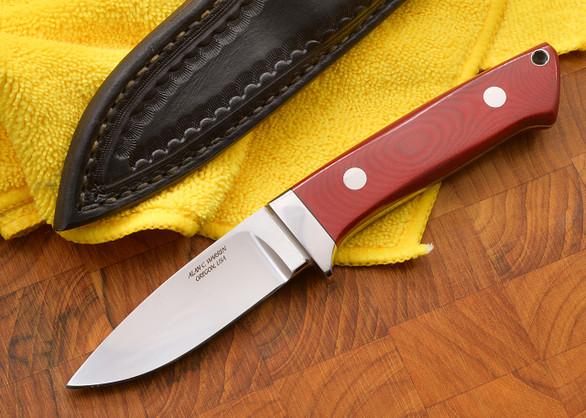 """Alan Warren: 3 5/8"""" Loveless Style Hunter - Red Linen Micarta - CPM-154"""
