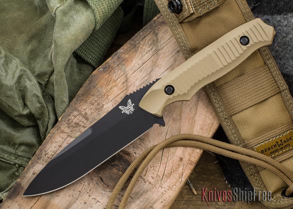 Benchmade Knives: 140BKSN Nimravus - Fixed Blade - Tan Aluminum Scales - Black Blade
