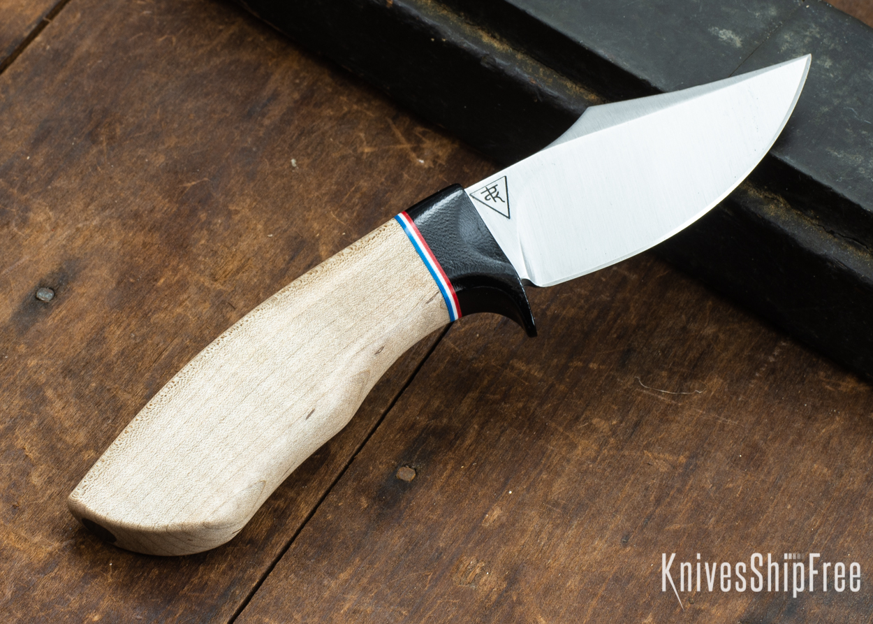 Dark Timber Knives: Dark Knight Skinner AEBL - Natural Curly Maple - Black Guard - Red/Wht/Blue Spacer - 121806