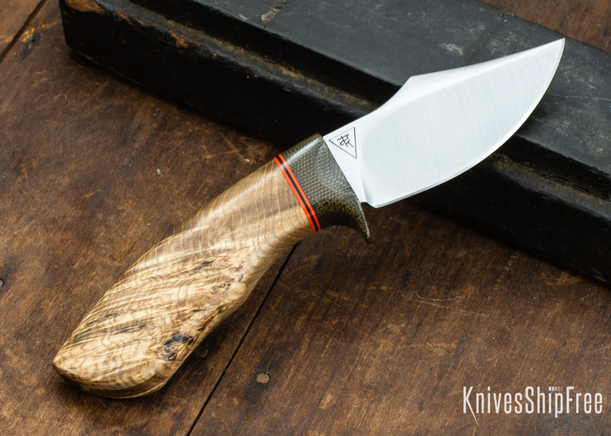 Dark Timber Knives: Dark Knight Skinner AEBL - Black Ash Burl - Green Guard - Org/Blk/Org Spacer - 121853